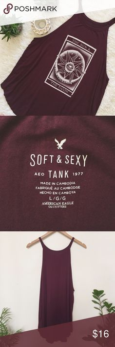 "High Neck Swing Tank Maroon tank top from the AEO ""Soft & Sexy"" line featuring a high neckline and a flattering swing shape. This top is stretchy, runs a little on the longer side, and drapes gorgeously. Like new condition with no signs of wear.  •Comes from a smoke/pet free home ✔️ •I'm happy to answer any questions or add new pictures! American Eagle Outfitters Tops Tank Tops"