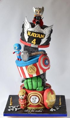 Gravity defying Avengers theme cake - Cake by Cakes for mates