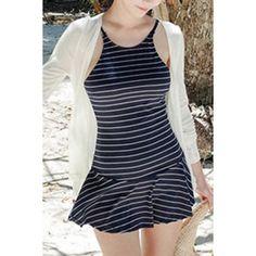 Sweet Backless Striped Flounced One-Piece Swimwear For Women