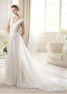 CHARMING ELEGANT CHIFFON SATIN A-LINE V-NECK NECKLINE NATURAL WAIST WEDDING DRESS SEXY LADY WOMEN IVORY WHITE