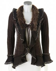Long Sleeve Cardigan Trimmed with a Faux Fur Collar