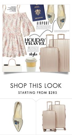 """Jet Set: Airport Style"" by dolly-valkyrie ❤ liked on Polyvore featuring Nicholas Kirkwood, CalPak, Hollister Co. and airportstyle"