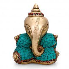 "Hindu God Ganesha Conch Design Brass Turquoise Statue-8"" Sri Ganesh, Lord Ganesha, Ganesha Pictures, Ganesh Statue, Buddha Sculpture, Buddha Painting, Beautiful Perfume, Shell Crafts, Conch"