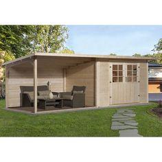 Weka Holz-Gartenhaus Como 295 cm x 300 cm mit großer Lounge