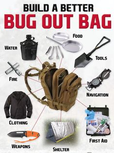Build a better bug out bag with Rothco - make sure you've got the essentials: food water tools navigation first aid shelter weapons clothes and fire! Survival Equipment, Survival Tools, Wilderness Survival, Camping Survival, Survival Knife, Survival Prepping, Survival Gear List, Teacher Survival, Survival Stuff