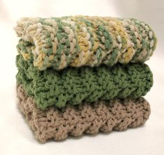 Knit Dishcloth Knitted Cotton Dish Cloth by SticksNStonesGifts, $15.00
