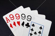 quad of nine - Poker hand showing quad of nines.