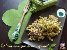 Pasta con zucchine e speck cremosa - primo piatto veloce-