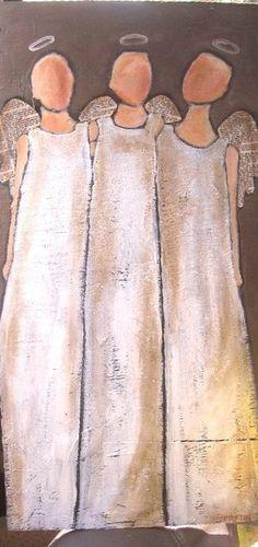 Die Dreifaltigkeit: 3 Engel Original Acryl auf Holz malen