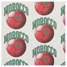 Flag of Morocco Moroccan Soccer Ball Pattern Fabric #soccer #sports #football #soccer #player #Fabric Morocco Flag, Sewing Projects, Craft Projects, Soccer Inspiration, Soccer Ball, Soccer Sports, Football Soccer, Pattern Fabric, Consumer Products