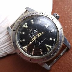 Vintage zodiac seawolf divers #watch #w/mint #dial,patina,signed crown,runs stron, View more on the LINK: http://www.zeppy.io/product/gb/2/231938950690/