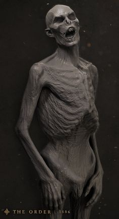 Vampire corpse high poly I sculpted for (The Order: software used: Zbrush, Maya, Photoshop, Keyshot Weird Creatures, Fantasy Creatures, Zbrush, Human Skeleton Anatomy, Werewolf Stories, Laika Studios, The Vampire Chronicles, Digital Sculpting, 3d Figures