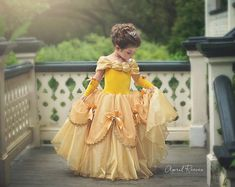Your Princess will be ready to dance in this Custom Belle inspired ballgown. This is for a SIZE 5/6 but can be ordered in 24 months and up. Size 8 and up are an additional fee.  Your dress top is made of a super soft yellow stretch velvet, which is fully lined in the front. Your dress will be made like all of my dresses in a leotard style with a built in stretch lycra panty so they just step into the dress and go, no buttons , or zippers or ties to mess with. Because it is stretch fabric...