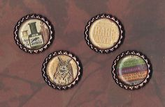 Graphic45 RARE ODDITIES #409 (4) Copper Flat Bottle Cap Accents POTIONS OWL