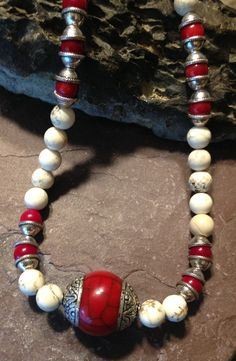 Red and White Tibetan Necklace Handmade by TheHippieBohemian, $37.00