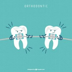 Dental braces cartoon vector