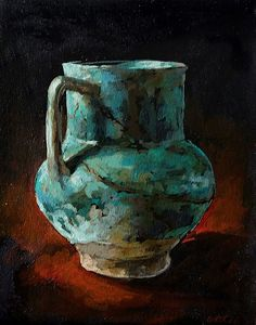 Available to buy online, Blue Jug by collectable artist Grace Kotze, still life painting on canvas size 20 x 25 x South African Artists, Online Art Gallery, Canvas Size, Still Life, Contemporary, Paintings, Blue, Paint, Painting Art