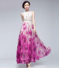 15 Off Pink White Floral Print Aline Dress Bohemian por ChineseHut, $159.00