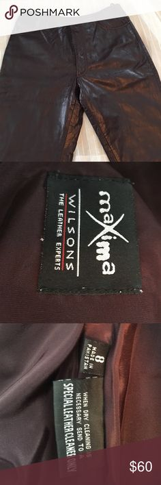Wilson's Maxima Leather Pants Burgundy leather pants outershell 100% leather, lining 100% polyester. Like New! Perfect condition!! Maxima Pants Straight Leg