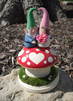 Woodland Garden Gnome Wedding Cake Topper - Custom Cake Topper -  Personalize with Names or Initials and Wedding Date by WorkofWhimsy on Etsy https://www.etsy.com/listing/124458600/woodland-garden-gnome-wedding-cake