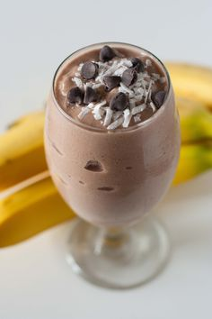 This Banana Oatmeal Chocolate & PB Smoothie tastes as good as a banana chocolate chip muffin but is made in minutes in a blender.