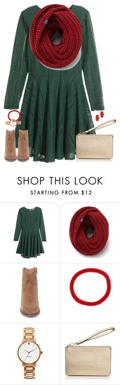 """deck the halls.."" by kaley-ii ❤ liked on Polyvore featuring H&M, Keds, Steve Madden, Aid Through Trade, Kate Spade and Kendra Scott"