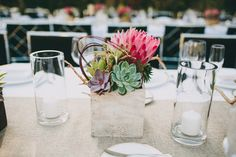 Modern Parker Palm Springs Wedding from Lauren Scotti Photography. Protea Wedding, Floral Wedding, Wedding Bouquets, Wedding Flowers, Wedding Bells, Baby Wedding, Wedding Shoot, Wedding Stuff, Winter Wedding Centerpieces