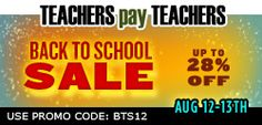 Get my TeachersPayTeachers products for 28% off August 12th - 13th!