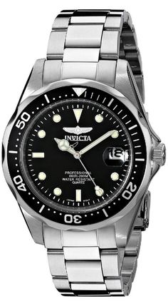 Invicta Men's 8932 Pro Diver Collection Stainless Steel Bracelet Watch Big, bold and masculine, the Invicta Quartz Pro Diver 8932 is an affordable luxury watch Sport Watches, Cool Watches, Watches For Men, Men's Watches, Citizen Watches, Dress Watches, Stainless Steel Bracelet, Stainless Steel Case, Best Watch Brands