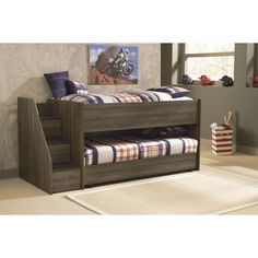 Ashley Twin Loft Bed with Left Storage Steps and Caster Bed in Dark Brown