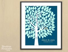 Wedding Wish Tree Guestbook Alternative - Unique Signature Tree Guest Book Alternative - 100 Guest Signatures  -Modern Keepsake Art Print. $38.00, via Etsy.