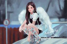 Kpop Drawings, Cute Drawings, Jennie Kim Blackpink, Blackpink Memes, Dibujos Cute, Black Pink Kpop, Blackpink Photos, Fan Art, Blackpink Fashion