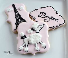 Listing is for 12 Parisian Poodle Inspired Cookies You will receive: 4 Parisian Poodles 4 Parisian Words 4 Eiffel Towers EVENT DATE: PLEASE LEAVE