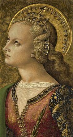 Carlo Crivelli - Santa Caterina d' Alessandria , dettaglio; pannello Polittico del 1476 (o Polittico di San Domenico o, impropriamente, Polittico Demidoff) - 1476 - National Gallery di Londra