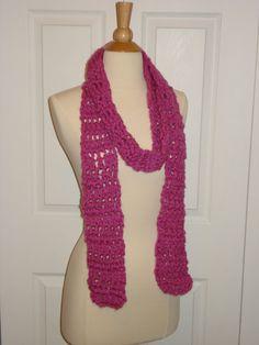Funky Handmade Pink Crochet Scarf by Belisse on Etsy, $20.00
