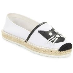 Karl Lagerfeld Paris Arago Espadrille Cat Flats ($99) ❤ liked on Polyvore featuring shoes, flats, platform flats, flat pumps, flat platform shoes, leather espadrilles and leather slip on shoes