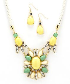 Gold & Lime Bib Necklace & Drop Earrings there is something about this set that draws me to it