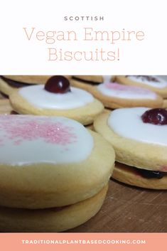 A traditional Scottish bake! Shortbread biscuits sandwiched with jam and topped with icing. Easy, fun, and delicious with afternoon tea. #vegan #vegetarian #empire biscuits