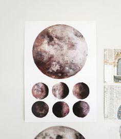 Items similar to Moon Phases, Lunar Phases, Moon Art on Etsy Moon Moon, Moon Art, Moon Phases, Lunar Moon, Watercolor Moon, Watercolor Print, Watercolor Paintings, Watercolours, Leonardo Da Vinci Zeichnungen