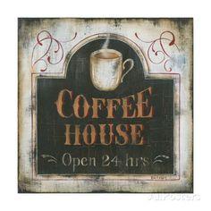 Coffee House Open 24 Hours Art Print