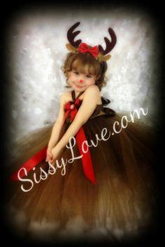 Reindeer Christmas Dress Tutu Costume Rudolph Tu Prop Party Dance Ballet Santa