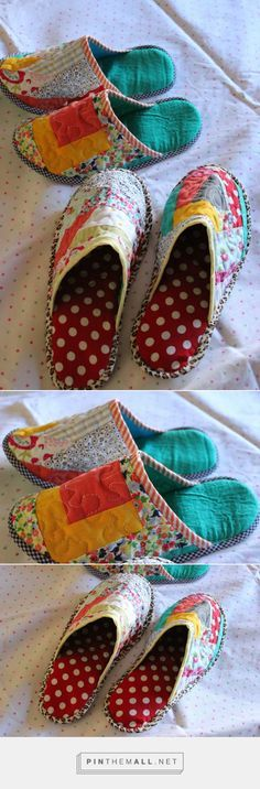 Through the window: Tutorial pantuflas patchwork / Patchwork Slippers Tutorial . Small Sewing Projects, Sewing Hacks, Sewing Tutorials, Sewing Patterns, Sewing Slippers, Felted Slippers, Shoe Crafts, Sewing Crafts, Shoe Pattern
