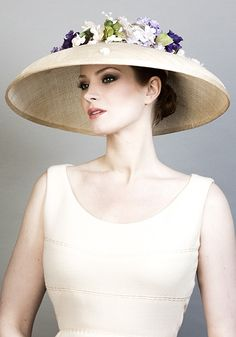 Rachel Trevor Morgan Millinery SS 2016   R1683 - Natural fine straw bell hat with delicate flowers