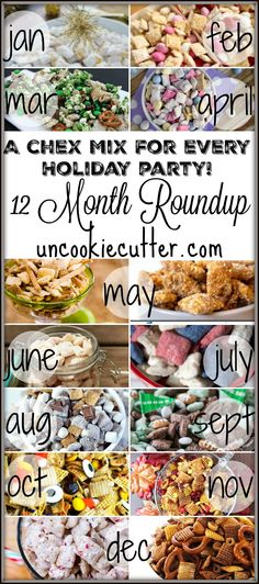 Chex Mix for Every Holiday - A 12 Month Roundup If you are heading to a party and need a quick treat to take, Chex Mix is the perfect quick dish. I've rounded up a mix for every holiday party of the year! Trail Mix Recipes, Puppy Chow Recipes, Snack Mix Recipes, Chex Mix Recipes, Yummy Snacks, Snack Mixes, Sweet Chex Party Mix Recipe, Candy Recipes, Appetizer Recipes