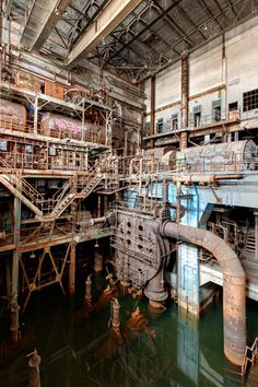 Stagnant water inside abandoned power plant