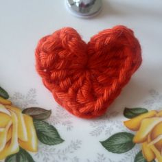 Red crochet heart Brooch on Etsy, £2.50