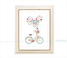 Ride Your Bike Bicycle Icon Art Print Home by BannerDesignShop, $12.99