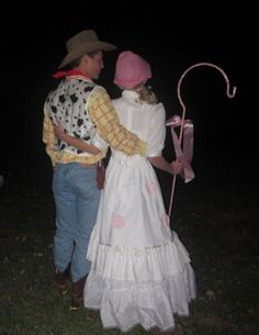 Halloween costume idea. Bo peep staff=iron plant basket hook wrapped in ribbon, taped felt circles on dress. Woody yellow shirt with red sharpie fabric from hobbylobby-hot glue rope around edges