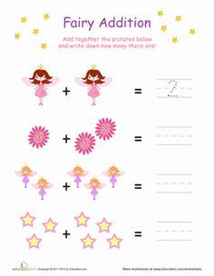 Preschool Addition Writing Numbers Worksheets: Counting Fairy Addition