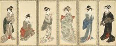 Women of Kyoto. Main detail of a hanging scroll; ink and color on silk, 1830-40, Japan, by artist Mihata Joryu. MFA